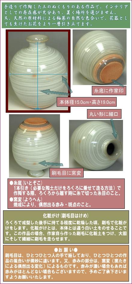 伝統的工芸品萩焼花入刷毛青丸の部位をご紹介