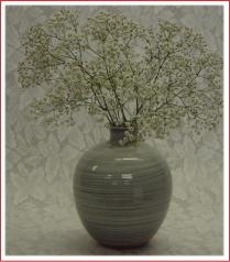 伝統的工芸品萩焼花入刷毛青丸を使ったイメージ